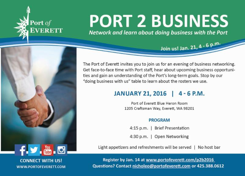 PORT 2 BUSINESS Networking Event January 21 2016