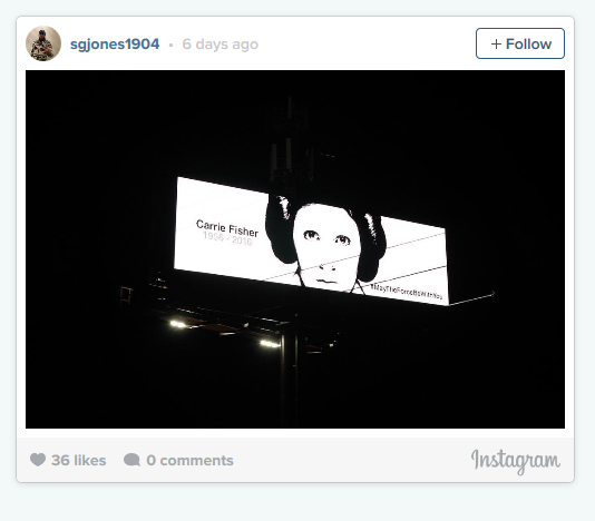 There are Carrie Fisher Billboards Popping Up All Over the Country