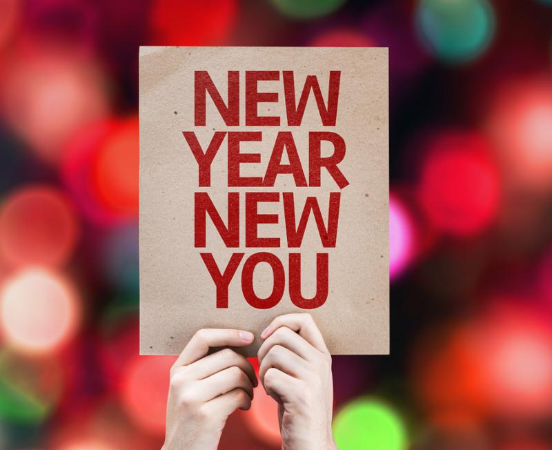 New Year New You card with colorful background with defocused lights