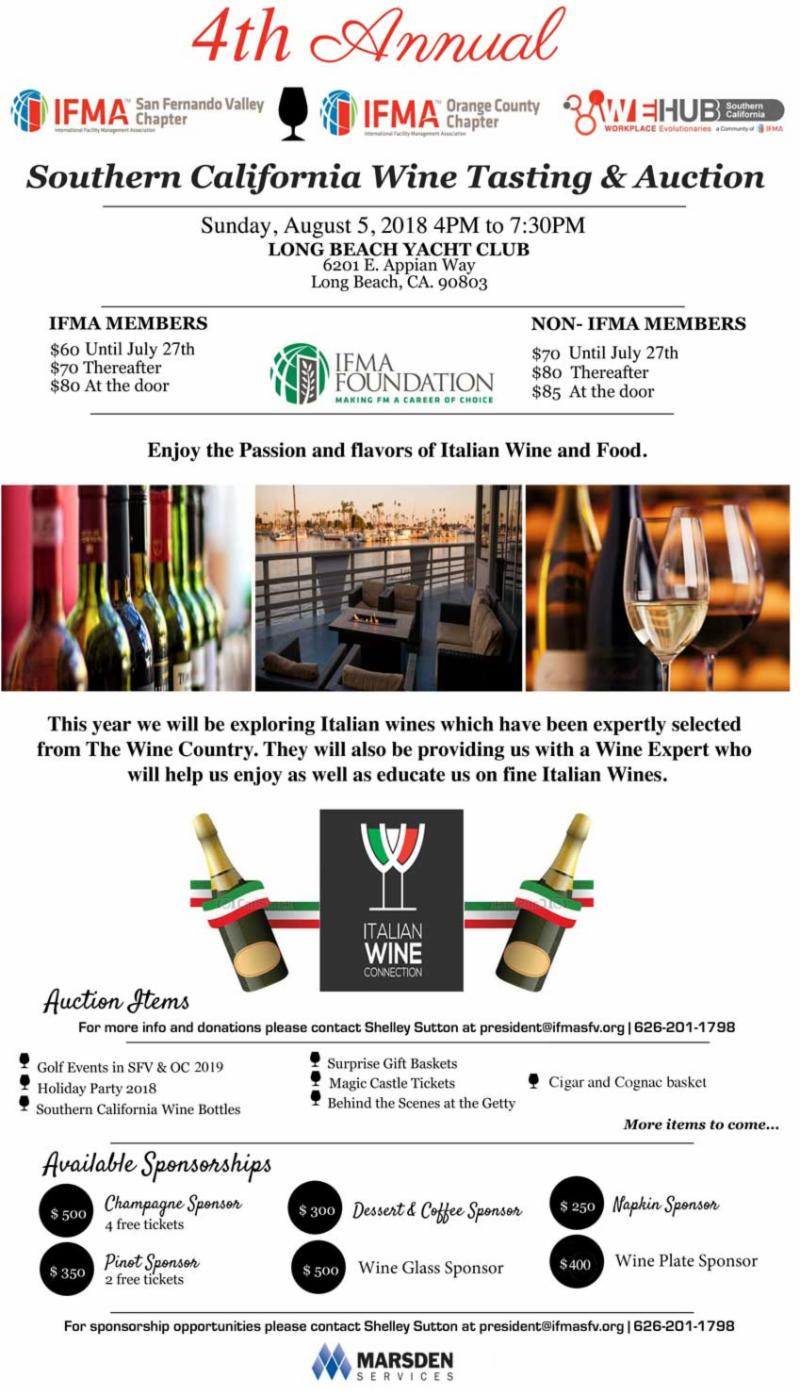 IFMA Foundation Wine Tasting & Auction @ Long Beach Yacht Club | Long Beach | California | United States