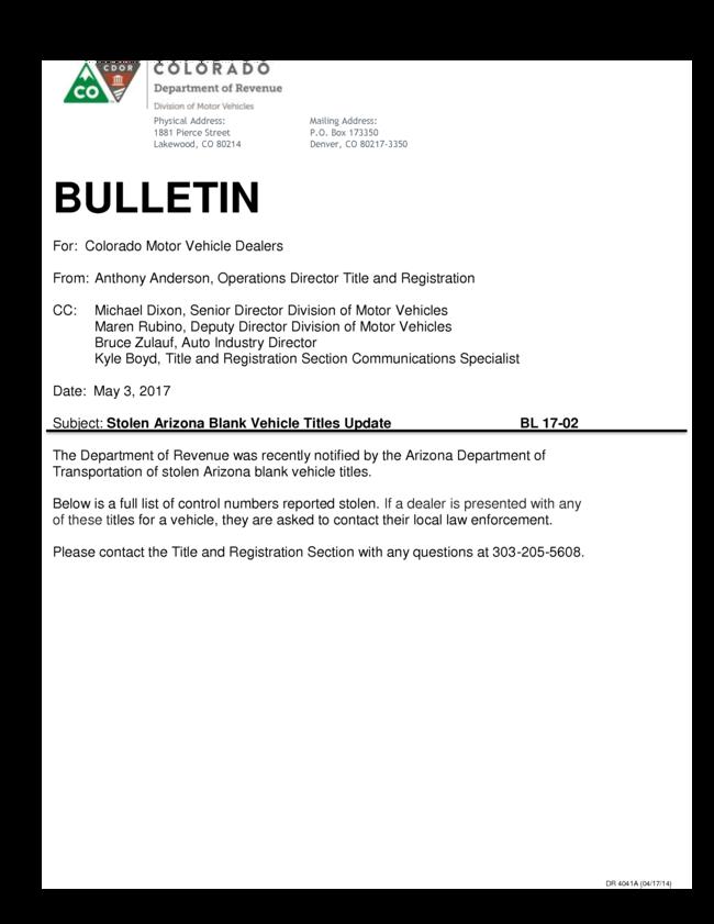 Stolen Arizona Blank Titles Bulletin