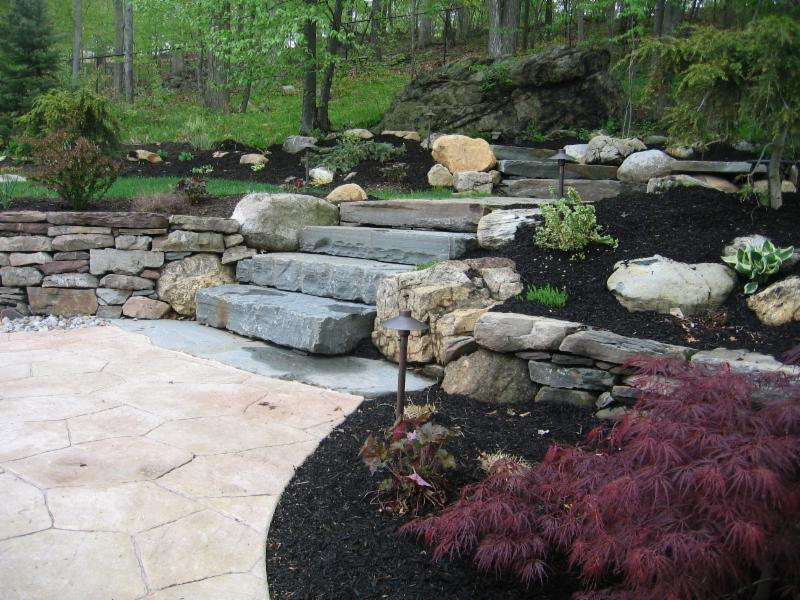 patio staircase - mulched plant beds