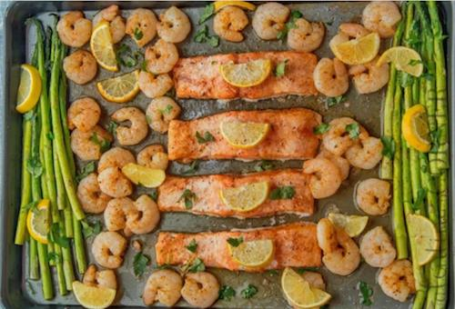 shrimp and salmon with honey hot