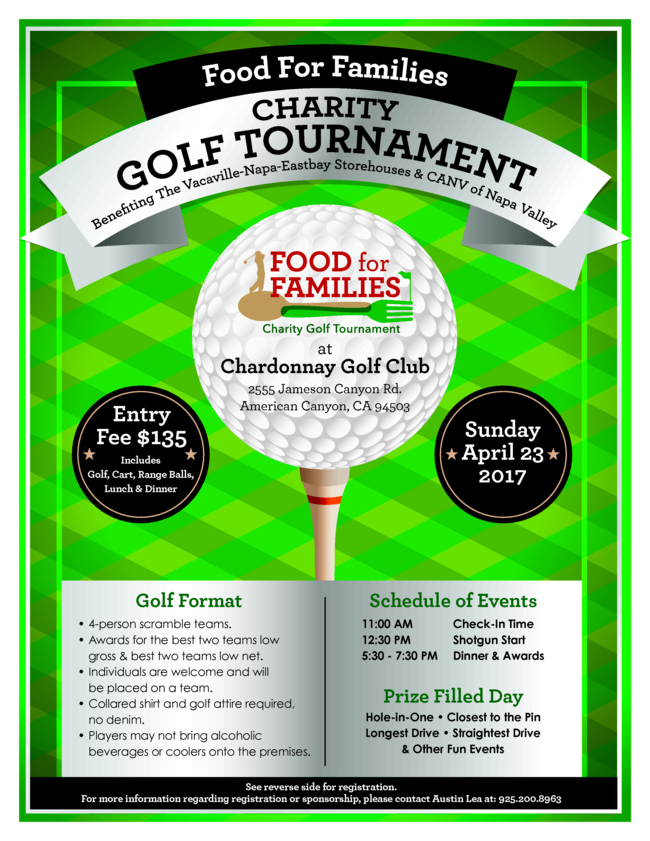 Food for Families Charity Golf Tournament announcement flyer