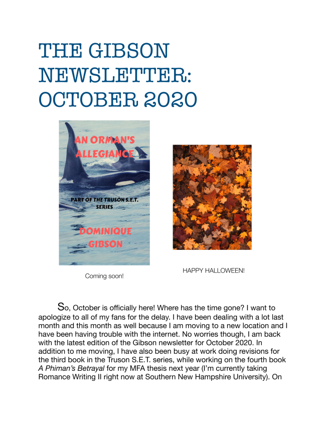 Here is the latest edition of The Gibson Newsletter for October 2020.