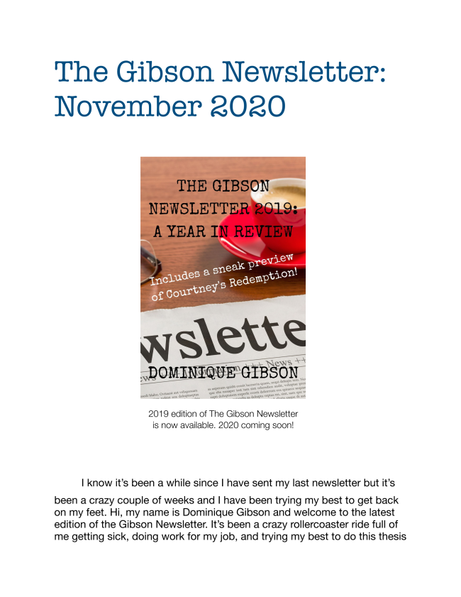 Here is the latest edition to the November 2020 edition of the Gibson Newsletter. Enjoy!