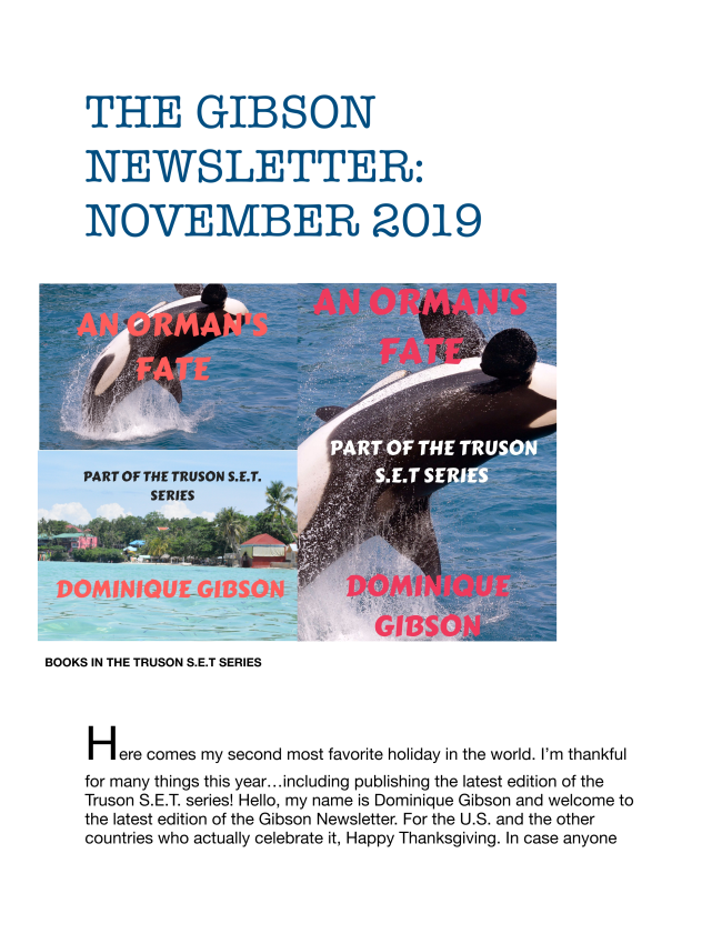 Here is the latest edition to the Gibson Newsletter. Enjoy!  Dominique