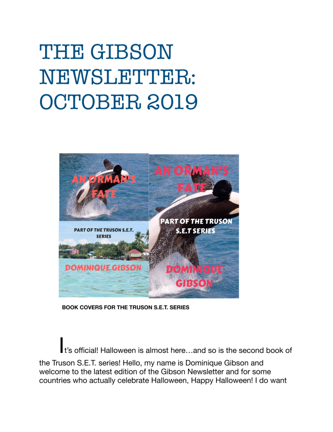 Newsletter for October 2019!