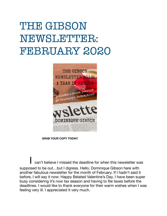 The latest edition of the Gibson Newsletter for February 2020.