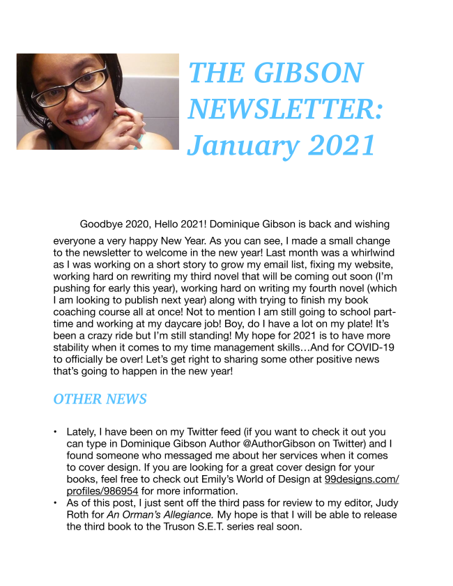 Here is the brand new newsletter for 2021. Get it while it's hot!