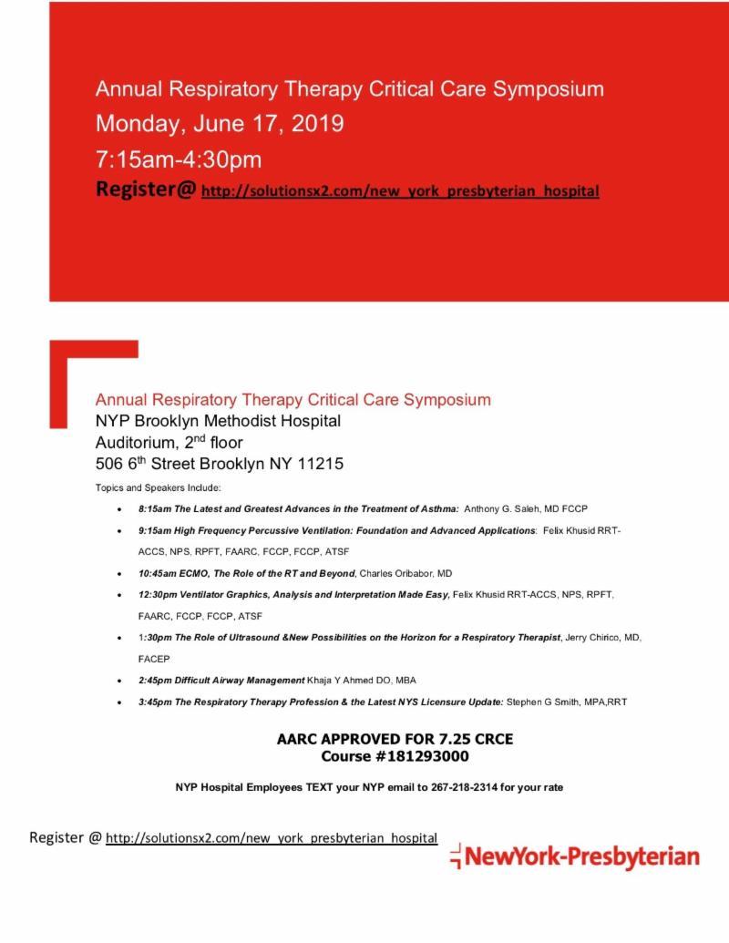 Annual Respiratory Therapy Critical Care Symposium