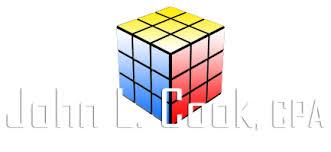 John L. Cook CPA logo with a rubik_s cube