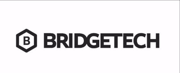 Bridgetech_s black _ white logo with a septagon around a B