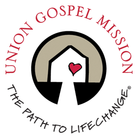 Union Gospel Mission_s circular logo with a graphic of a house in the middle with a heart