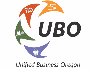 Unified Business Oregon blue_ green_ red_ and orange logo