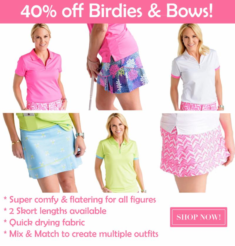 Birdies and Bows ladies golf apparel spring sale