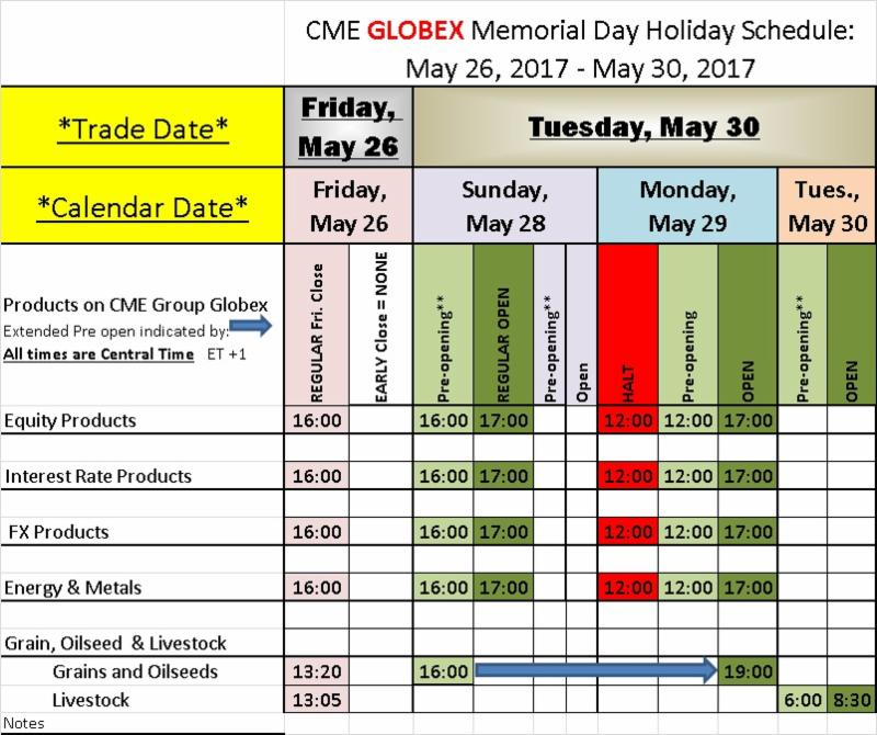 Memorial Day Trading Schedule