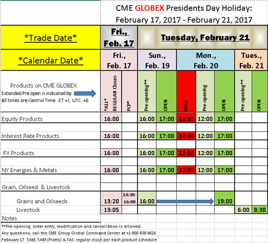 Presidents Day 2017 Holiday Schedule