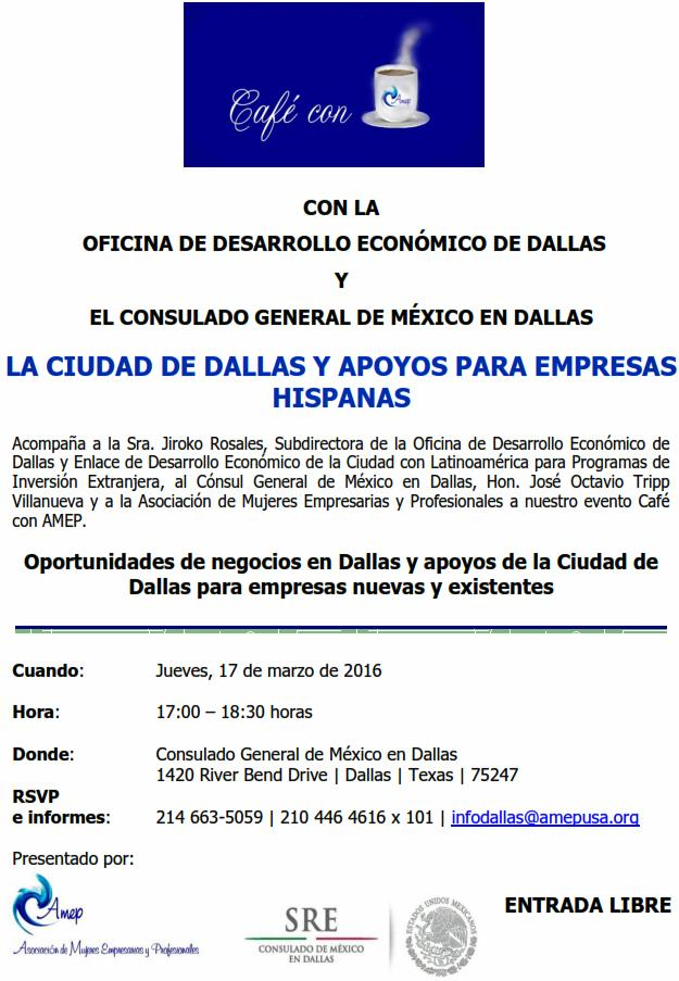 CAFE CON AMEP el Consul Mexicano y la Ciudad de Dallas