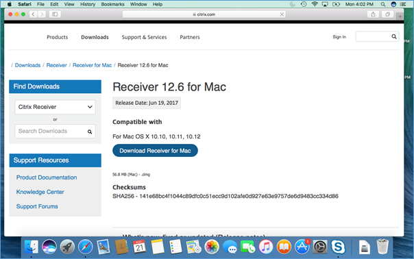 Installing Citrix receiver on MAC Systems