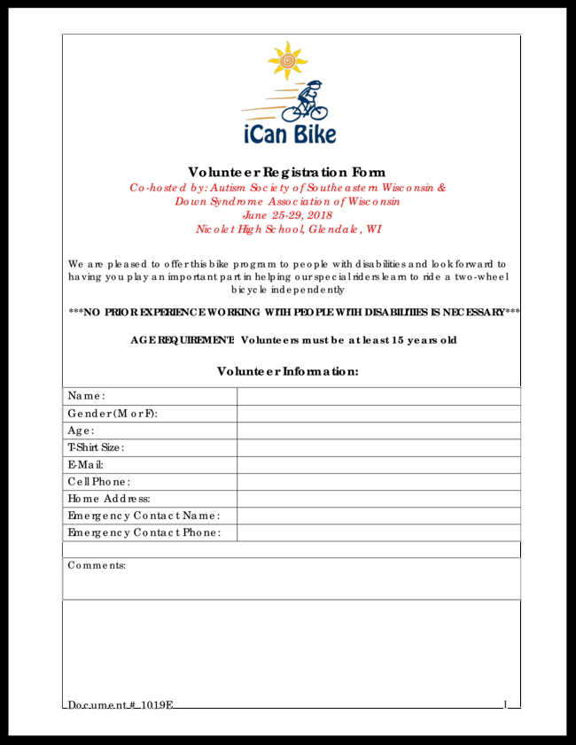 Ican Bike Autism Society Of Se Wi 2018 Volunteers Page