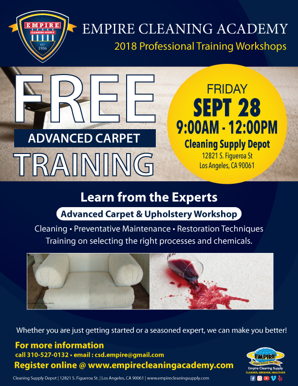 Free Advanced Carpet Upholstery Training Los Angeles Empire