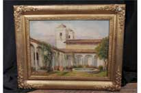 Antique Spanish Oil Painting Granada Moorish Courtyard