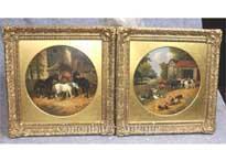 Pair Antique Oil Paintings Rustic Farm Scene