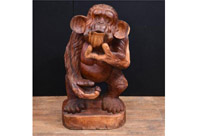 Hand Carved Cheeky Monkey Statue