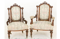 Pair Victorian Walnut Arm Chairs