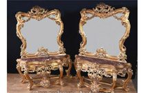 Pair Louis XVI Gilt Console Table