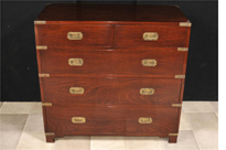 English Mahogany Campaign Chest of Drawers