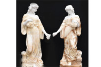 Pair Giant Hand Carved Roman Maiden Statues