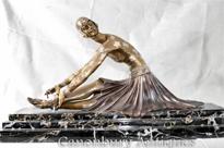 Art Deco Bronze Chiparus Statue Figurine Tanara