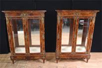 Antique English Burr Walnut Victorian Pier Cabinets