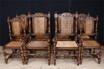 Set 8 French Oak Dining Chairs