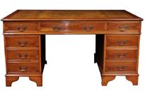Antique Yew Wood George II Knee Hole Pedestal Desk