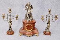 French Empire Antique Clock Set Garniture