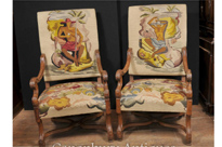 Pair French Antique Oak Arm Chairs Nude Hand Woven