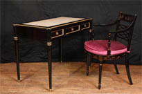 Regency Black Lacquer Desk and Chinese Chair