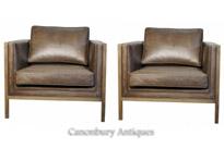 Pair Art Deco Ash Club Chairs