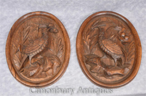Pair German Black Forest Carved Game Bird Plaques