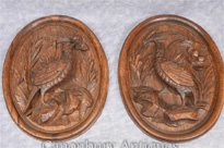 Pair German Black Forest Carved Game Bird Plates