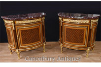 Pair French Empire Demi Lune Commodes
