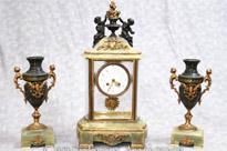 Antique Empire Onyx Gilt Clock Set