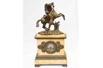 French Empire Marble Bronze Mantle Clock