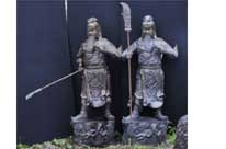 Pair Bronze Japanese Samurai Warrior