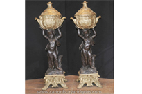 Pair Antique French Bronze Cherub Stands Planters