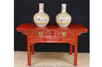 Chinese Red Lacquer Cinnabar Temple Table