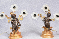 Pair French Empire Cherub Table Lamps